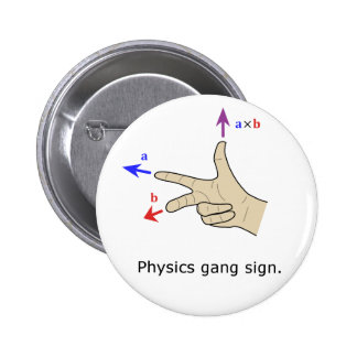 Physikgruppenzeichen Querprodukt der rechten Regel Runder Button 5,1 Cm