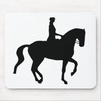 Piaffe Dressage-Pferd und Reiter (Schwarzes) Mousepad