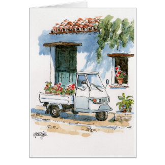 Piaggio und Pelargonien - Grußkarte