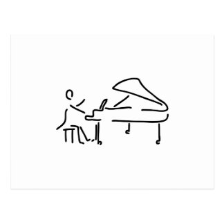 Pianist Musiker spielt Klavier Piano Fluegel Postkarte