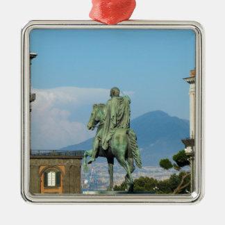 Piazza Del Plebiscito, Neapel Quadratisches Silberfarbenes Ornament