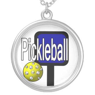 Pickleball Paddel- und Ballhalskettenentwurf Versilberte Kette