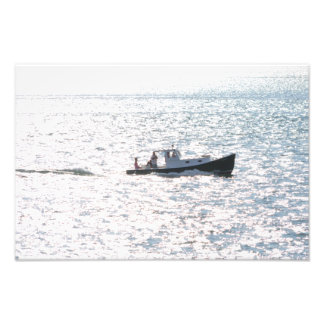 Picknick-Boot in Meer Fotodruck