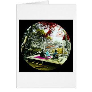 Picknick unter dem Ahorn verlässt Vintages altes Karte