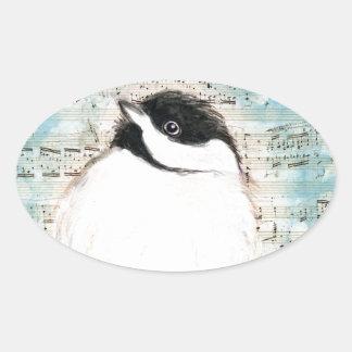 Piepmatz-Musik-Lied Ovaler Aufkleber