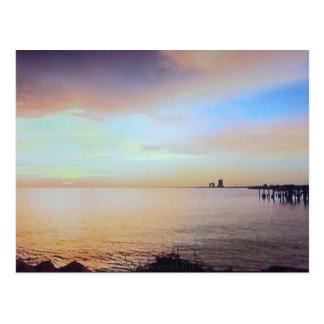 Pier-Sonnenuntergang-Postkarte Postkarte