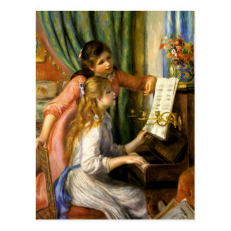 Pierre-Auguste Renoir- - JeunesFilles Au Klavier Postkarte