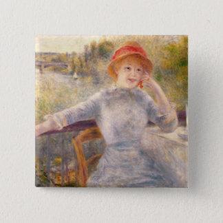 Pierre ein Renoir | A. Fournaise beim Grenouillere Quadratischer Button 5,1 Cm