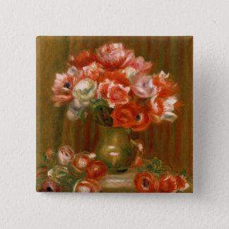 Pierre ein Renoir | Anemonen Quadratischer Button 5,1 Cm