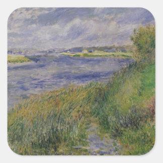 Pierre ein Renoir | Banken der Seines, Champrosay Quadratischer Aufkleber