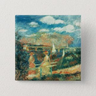 Pierre ein Renoir | Banken der Seines in Quadratischer Button 5,1 Cm