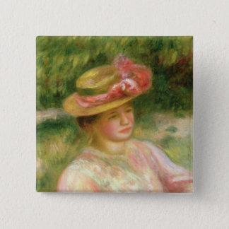Pierre ein Renoir | der Strohhut Quadratischer Button 5,1 Cm
