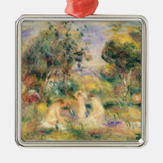 Pierre ein Renoir   die Badegäste Quadratisches Silberfarbenes Ornament