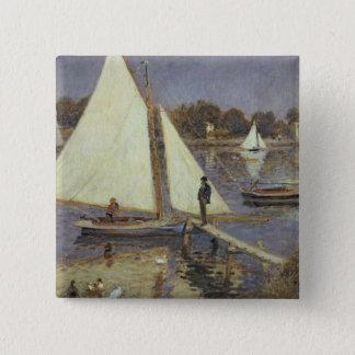 Pierre ein Renoir | die Seine in Argenteuil Quadratischer Button 5,1 Cm