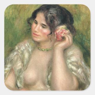Pierre ein Renoir | Gabrielle mit einer Rose Quadratischer Aufkleber
