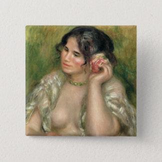 Pierre ein Renoir | Gabrielle mit einer Rose Quadratischer Button 5,1 Cm