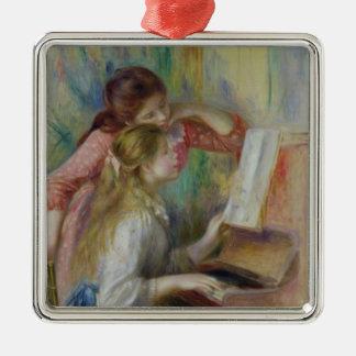 Pierre ein Renoir | junge Mädchen am Klavier Quadratisches Silberfarbenes Ornament