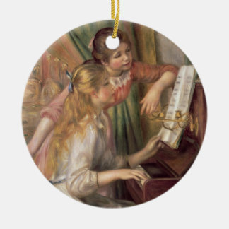 Pierre ein Renoir | junge Mädchen am Klavier Rundes Keramik Ornament