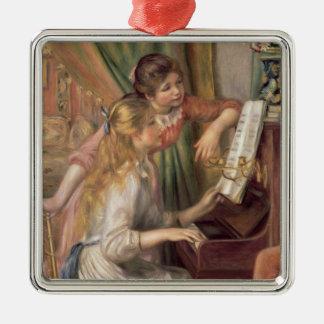 Pierre ein Renoir   junge Mädchen am Klavier Silbernes Ornament