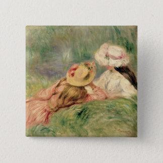 Pierre ein Renoir | junge Mädchen auf dem Quadratischer Button 5,1 Cm