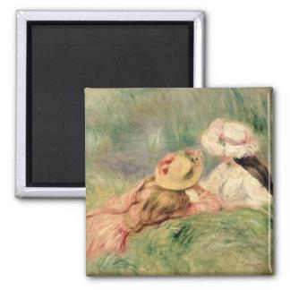 Pierre ein Renoir | junge Mädchen auf dem Quadratischer Magnet