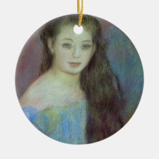 Pierre ein Renoir | junges Mädchen mit blauen Rundes Keramik Ornament