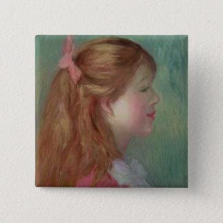Pierre ein Renoir | junges Mädchen mit dem langen Quadratischer Button 5,1 Cm