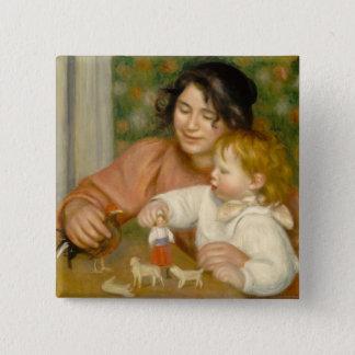 Pierre ein Renoir | Kind mit Spielwaren Quadratischer Button 5,1 Cm