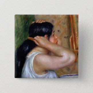 Pierre ein Renoir | Mädchen, das ihr Haar kämmt Quadratischer Button 5,1 Cm
