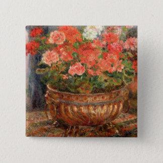 Pierre ein Renoir | Pelargonien in einem kupfernen Quadratischer Button 5,1 Cm