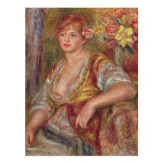 Pierre eine Renoir | blonde Frau mit einer Rose Postkarte