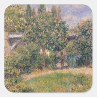 Pierre eine Renoir | Eisenbahnbrücke bei Chatou Quadratischer Aufkleber