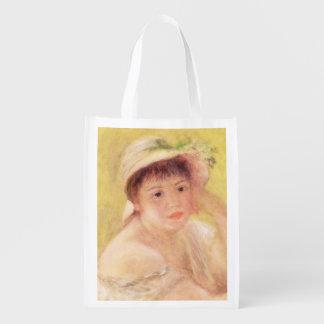 Pierre eine Renoir | Frau in einem Strohhut Wiederverwendbare Einkaufstasche