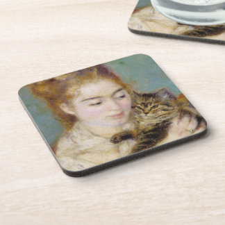 Pierre eine Renoir | Frau mit einer Katze Getränkeuntersetzer