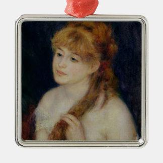 Pierre eine Renoir | junge Frau, die ihr Haar Quadratisches Silberfarbenes Ornament
