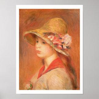 Pierre eine Renoir   junge Frau in einem Hut Poster