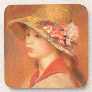Pierre eine Renoir | junge Frau in einem Hut Untersetzer