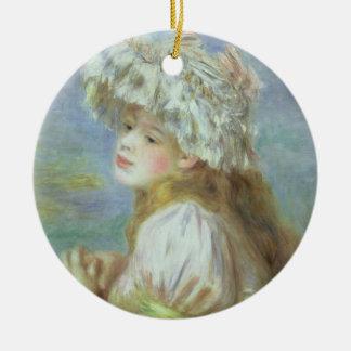 Pierre eine Renoir | junge Frau in einem Spitzehut Keramik Ornament