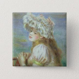 Pierre eine Renoir | junge Frau in einem Spitzehut Quadratischer Button 5,1 Cm