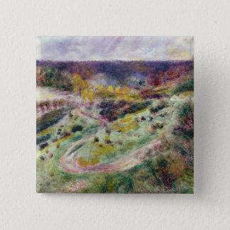 Pierre eine Renoir | Landschaft bei Wargemont Quadratischer Button 5,1 Cm