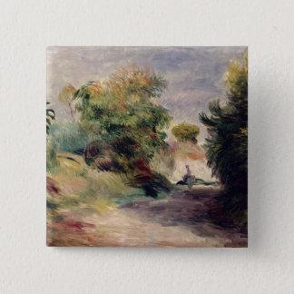Pierre eine Renoir | Landschaft nahe Cagnes Quadratischer Button 5,1 Cm