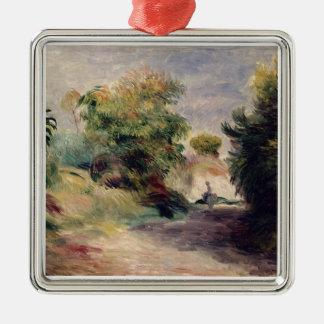 Pierre eine Renoir | Landschaft nahe Cagnes Quadratisches Silberfarbenes Ornament