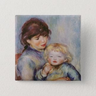 Pierre eine Renoir | Mutterschaft, Kind mit einem Quadratischer Button 5,1 Cm
