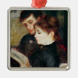 Pierre eine Renoir   Paar-Lesung Quadratisches Silberfarbenes Ornament