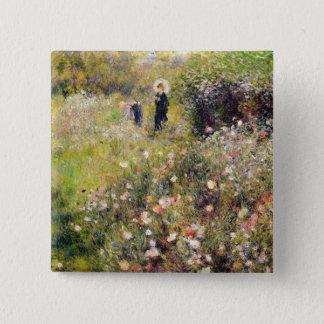 Pierre eine Renoir | Sommer-Landschaft Quadratischer Button 5,1 Cm