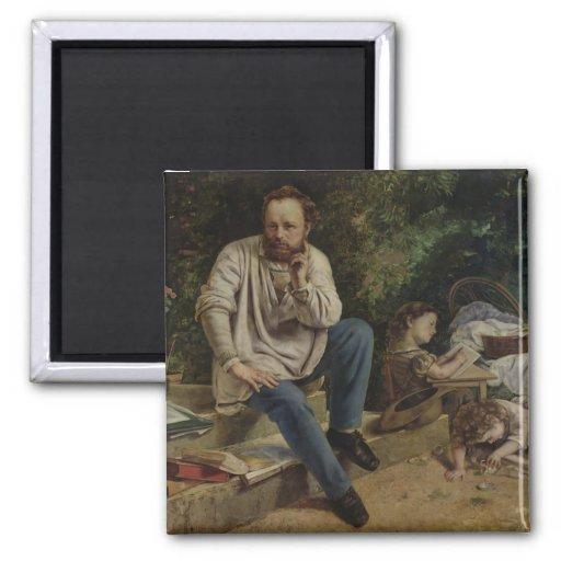 Pierre Joseph Proudhon und seine Kinder Kühlschrankmagnet