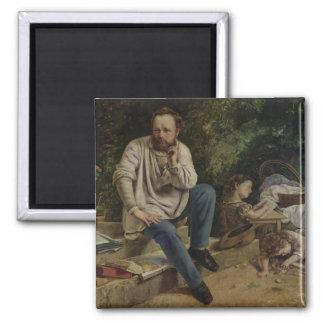 Pierre Joseph Proudhon und seine Kinder Quadratischer Magnet