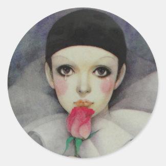 Pierrot Achtzigerjahre Runder Aufkleber