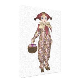 Pierrot Clown-Puppe mit Ostereiern Leinwanddruck