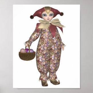 Pierrot Clown-Puppe mit Ostereiern Poster